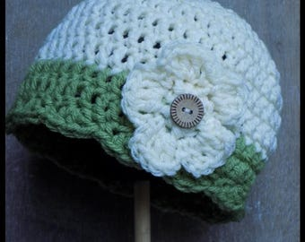 Toddler Flower Beanie- 100% acrylic, made to order, 9 color choices