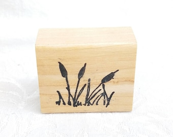 Cattails Rubber STamp, Retired, Used Scenery background stamp, Nature Stamp, Realistic Grass stamp, Card Making stamp, Scrapbook, Journal