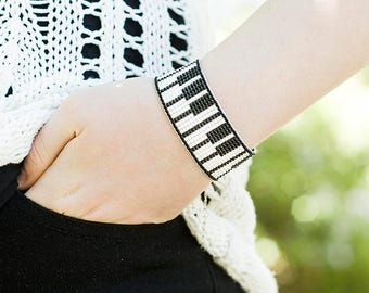 Music Gift for Girlfriend Christmas Gift for Music Lover Gift for Musician Beaded Bracelet Piano Jewelry Music Jewelry Gift|for|Her