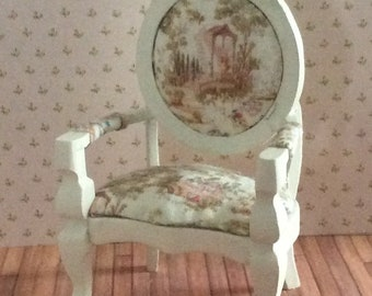 Miniature One Inch Scale French Style Cream Occasional Chair