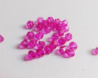 40 3mmx4mm fuchsia glass bicone beads