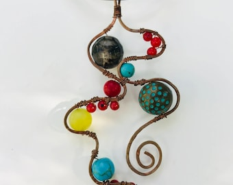 Abstract Copper Wire Necklace with Gemstones