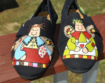 ON SALE Cute Little Angel Sneakers size 6 with angels and fairies  ready to ship