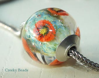 "Silver Capped & Cored handmade lampwork bead ""Poppy Garden!"" Creeky Beads SRA"
