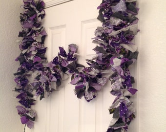 12' Purple Rag Garland, Violets Rag Garland, Garden Fabric Garlands, Swag Garlands, Lighted Garland, Garden Room Garland