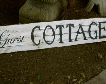 Wood Guest Sign Home Decor Signs Wooden Guest Cottage Sign Shabby Cottage Chic Beach Decor Handmade California Woodworking Artist USA Made
