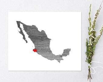 Mexico Art Print - Custom Personalized Heart Print - Custom location - Hometown Wall Art Gift Souvenir Mission
