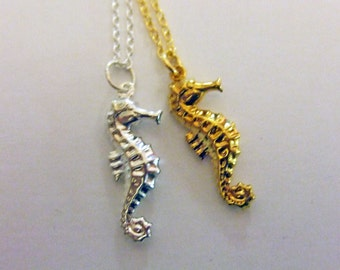 Little Seahorse Necklace, Gold Seahorse Necklace, Silver Seahorse Necklace, Seahorse Charm Necklace, Little Seahorse, Seahorse Jewelry