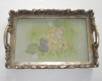 Vintage Gold Gilt Composite Vanity Tray Dresser Tray Embroidery Insert