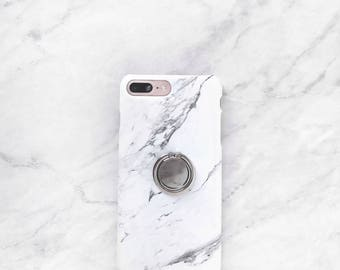 Ring Phone Holder - White Marble Case Set, iPhone and Samsung Galaxy Phone Stand, Grip