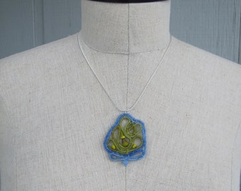 Unique wool-wrapped pendant in blue and green