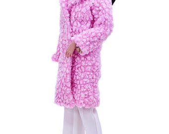 ELENPRIV pink faux fur coat with full chiffon lining for Fashion royalty FR16 and similar body size dolls