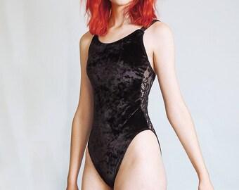Sibylline - Crushed black velvet bodysuit with sheer lace back - rock n roll bohemian