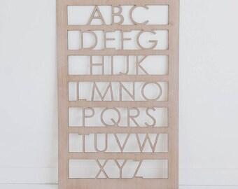 Nursery Art Alphabet Decor - Mid Century Wall Art - Frosted Ash
