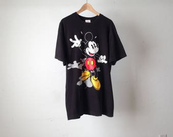 vintage MICKEY gone wild DISNEY mickey mouse BLACK t-shirt top size xl