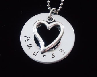 Hand Stamped name pendant with Heart pendant - Personalized necklace - Great for mother gifts -