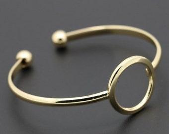 Gold Bangle// Romantic gift, Trendy circle cuff bracelet, cuff bangle, gold tone bangle, fashion stacking bangle, dulsy, gift for her