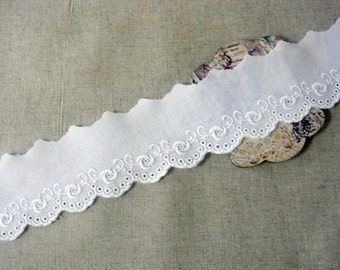 14yds Cotton Eyelet Lace Trims White Flower 013