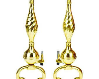 Pair of Brass Federal Style Andirons with Beautiful Turned Accent