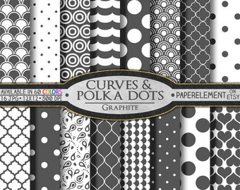 Graphite Gray Geometric Digital Paper - Gray Scrapbook Background with Printable Gray Patterns and Gray Quatrefoil - Instant Download