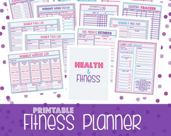Fitness Planner, Fitness Planner Insert, Fitness Planner Printable, Fitness Inserts, Letter + Half Letter Size, 13 Pages