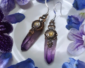 Amethyst Earrings - Veracruz Amethyst Earrings with Rainbow Moonstone - Dark Purple Veracruz Amethyst Rainbow Moonstone Earrings - Oneira