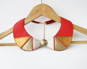 Leather Necklace Red Gold Leather Collar Bib Necklace Peter Pan Detachable Collar Leather Jewelry READY TO SHIP