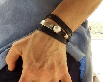 Bracelets for women, Leather bracelet. Wrap bracelet, boho bracelet, gift for mom, boho jewelry, girlfriend gift. Leather.