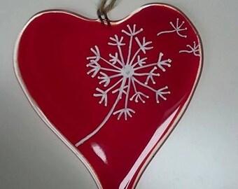 Fused Glass Dandelion Heart