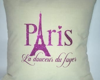 Eiffel Tower Pillow - Home Sweet Home Pillow - La douceur du foyer Pillow - Eiffel Tower Throw Pillow - College Dorm Decor - Cover Only
