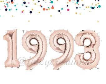 25th Birthday Decorations | 1993 Birthday Balloon Banner | ROSE GOLD Number Balloons | 25th birthday for her | Cheers to 25 Years | 25TH