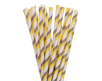 Paper Straws, Yellow and Gray Striped Paper Straws, Yellow and Gray Cake Pop Sticks, Baby Shower Straw, Birthday Party Supplies, Paper Straw