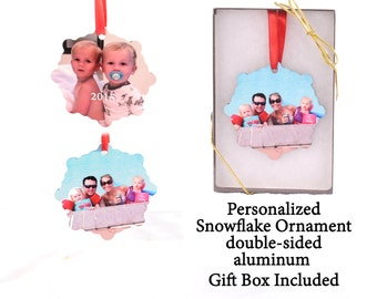 Custom Photo Ornament - Snowflake Ornament - your photo turned into a unique gift - 2 sided
