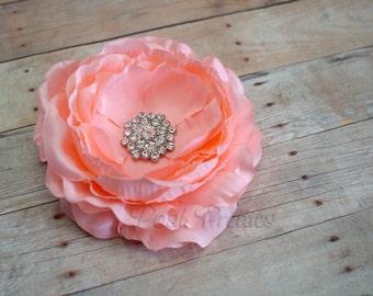 Peach Flower Hair Clip Pink Flower Hair Clip Ranunculus Hair Clip Rhinestone Flower Hair Clip Ruffled Flower Hair Clip Headband