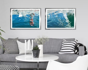 Abstract large wall art set of 2 water photography Аbstract sea art Blue nautical decor Modern large prints Bathroom wall decor 24x36