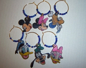 Disney wine glass charms, Disney wine charms
