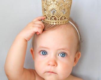 SALE!! Lace Princess Crown, Baby Crown, Gold Crown, Child's Crown, Mini Crown, Lace Crown, Silver Crown, Baby Headband, Crown Headband