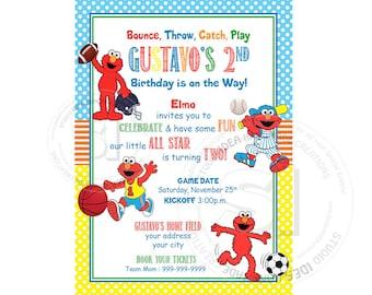 Elmo Sports All Star Printable Invitation- Personalized Elmo Birthday Invitation-All Sports Birthday Invitation-DIY (digital file)