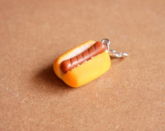 Grilled Hot Dog Charm - Miniature Food Jewelry, Polymer Clay Food. Miniature Hot Dog. Hot Dog Jewelry. Carnival Food.