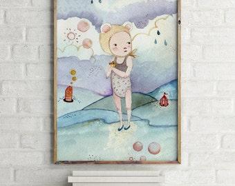 Nursery wall art, nursery decor, baby shower girl, baby girl wall art, nursery wall art girl, nursery print girl, baby shower girl