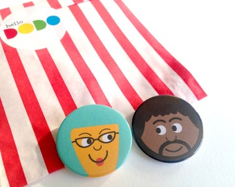 Cute People Face Badges, hello DODO Little Friend Pin Badges, First Dates Badges, True Love Badges, Funny Face Button Badge, Party Bag Pin