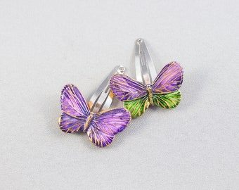 Snap clips toddler purple butterfly from polymer clay. Set of two cute hair clip for girls