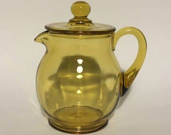 New Martinsville Amber Water Pitcher with Lid
