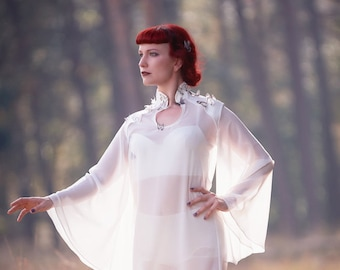 Chiffon blouse /// white high-fashion avantgarde fairytale couture blouse with silk butterflies.