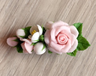 Rose barrette, barrette with pink roses and jasmine, clay rose, clay flowers, bridal barrette, polymer clay barrette, cold porcelain