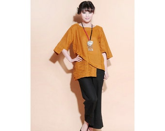 Ethnic Style  Asymmetrical Linen Long Blouse with  Accordion Folds/ 28 Colors/ RAMIES