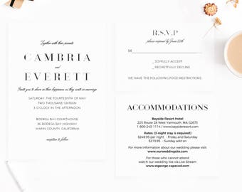 Wedding Invitation Template, Instant Download,pdf,cheap,Formal Script,  Wedding Printable,Wedding Invitation