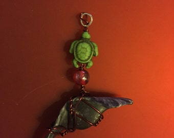 Sea turtle and shell pendant