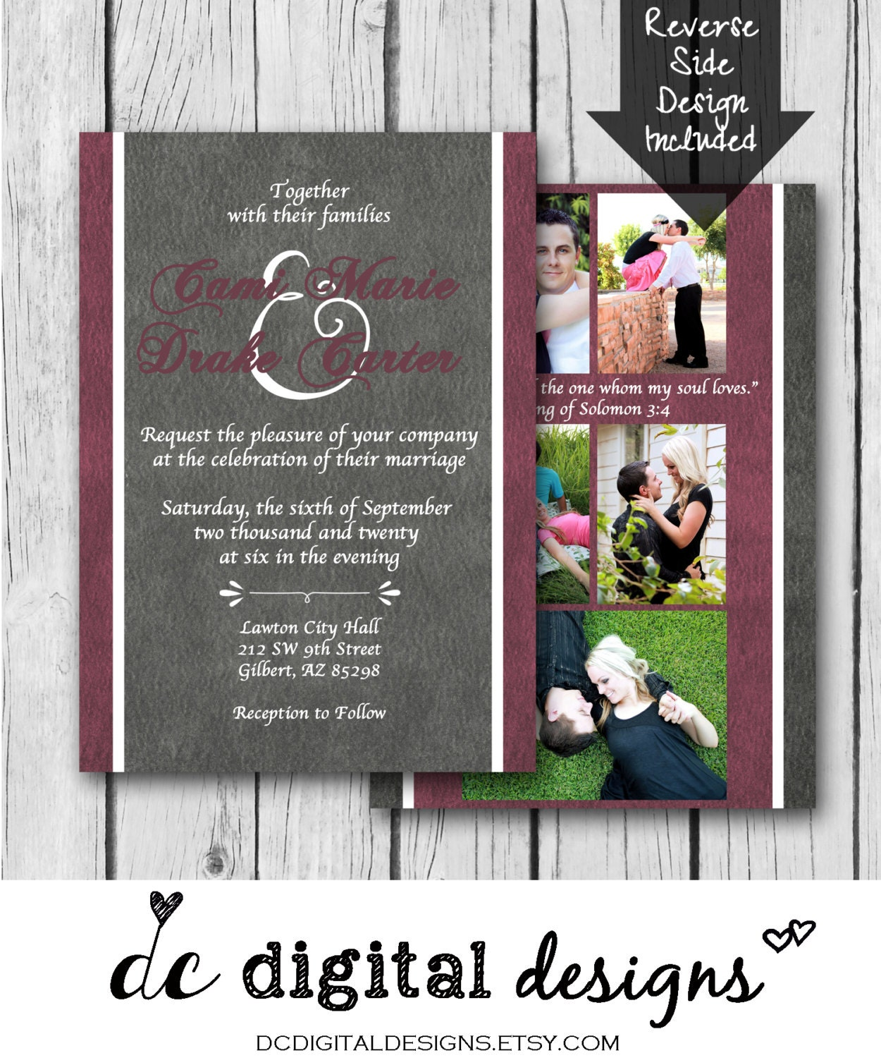 Any Color Wedding Invitation Photo Collage Grey Maroon