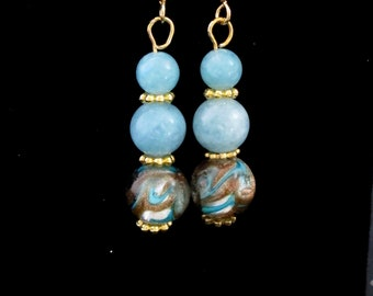 Aquamarine Earrings - Lampwork Bead -  March Birthday Gift - Gift for Her - Special Occasion Earrings - Gold plate ear wires